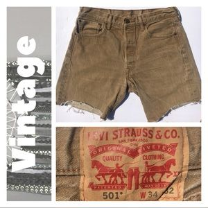 "Pants - Vintage LEVI'S 501 Brown Cutoffs - Waist 34"" (29"")"